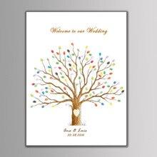 Свадебное украшение с отпечатками пальцев гостей дерево с отпечатками пальцев картина персонализированные свадебные книга для подписей посетителей Свадебная Гостевая книга Свадебный декор