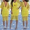2016 Del otoño Del Verano de Las Mujeres Amarillo Vestido de Las Mujeres de La Vendimia Del Cordón Del Ganchillo Bodycon Floral Boho Del Partido de Tarde Midi Vestido Lápiz vestidos
