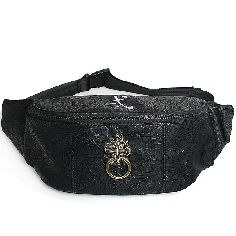 Leather Men Black Waist Bag Chinese Style Lion Head Fanny Pack for Women Casual Fanny Bags Vintage Floral Pattern Waist Pack