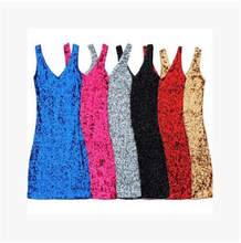 Free Shipping Women's Sequined Sleeveless Vest Dress Costumes Paragraph Nightclub Dance Costumes Sexy Clubwear Sexy Club Dress