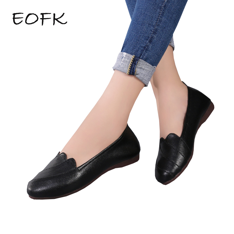 EOFK Women Leather Ballet Flats Womens Casual Flat Shoes Woman Slip On Spring Autumn Soft Comfortable Black Ladies Shoes цены онлайн