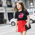 Novo 2016 moda verão bebê menina conjuntos de roupas de impressão de Algodão de moda de manga curta T-shirt e saias meninas roupas ternos do esporte