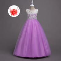 White Red Lavender Pink Yellow Blue Wedding Dress Girls Clothing Dresses for Girls 6 Years Old To 14 Years Old Kids Party Cloth