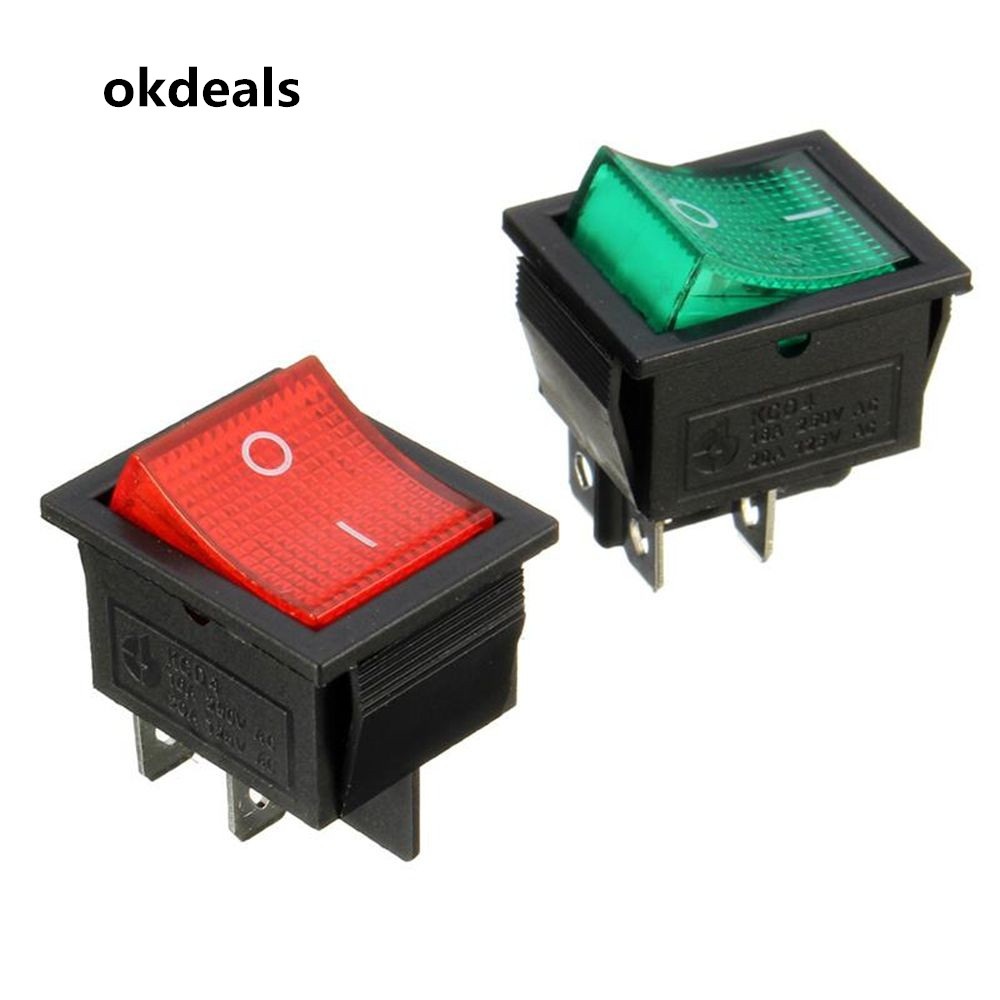 цена на Hot Latching Rocker Switch Power Switch I/O 4 Pins With Light 16/20A 250/125VAC KCD4