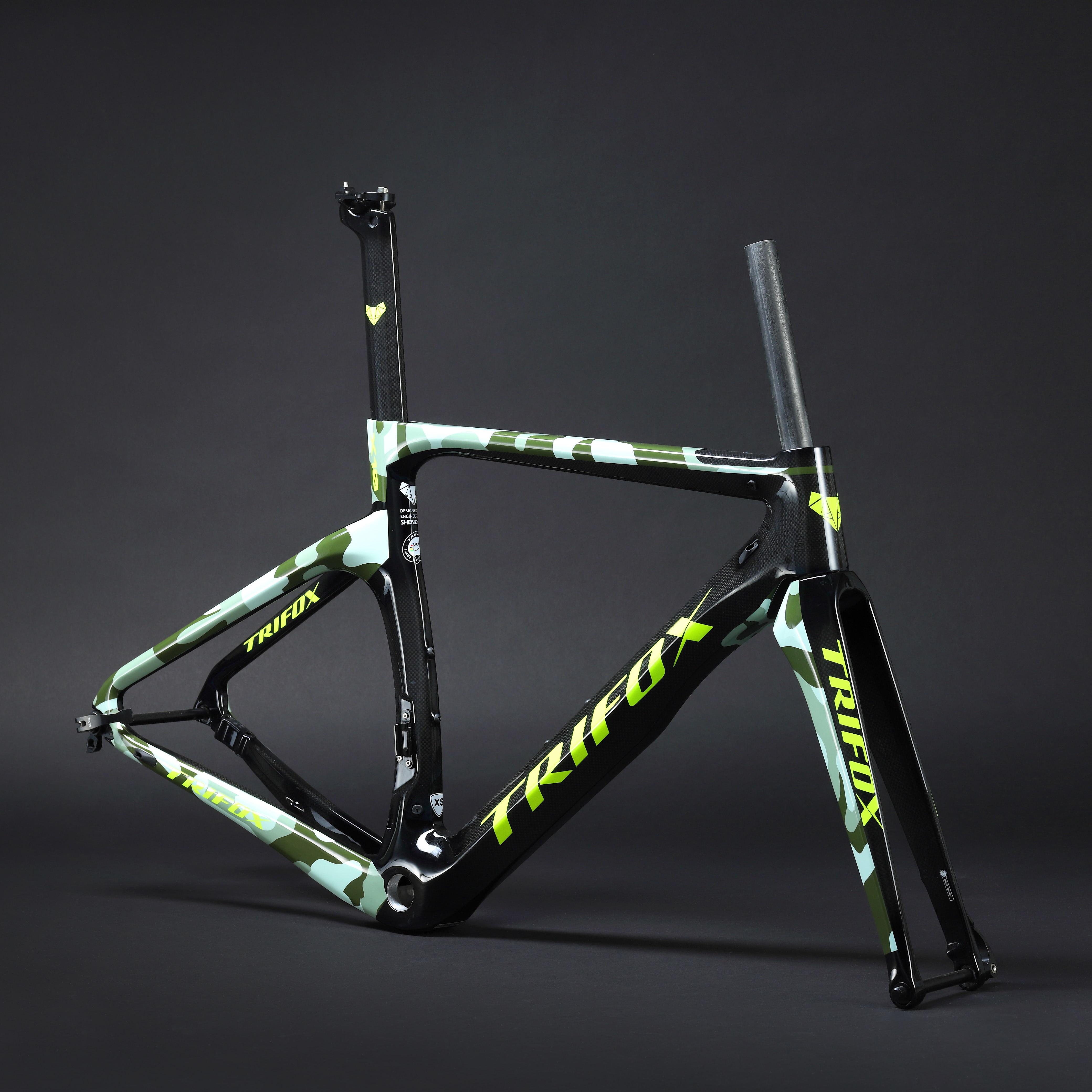 TRIFOX Carbon Road Bike Frame Disc Brakes Di2 Mechanical 3K  Carbon Fibre Road Cycling Super Light Race Bicycle Frameset Bike