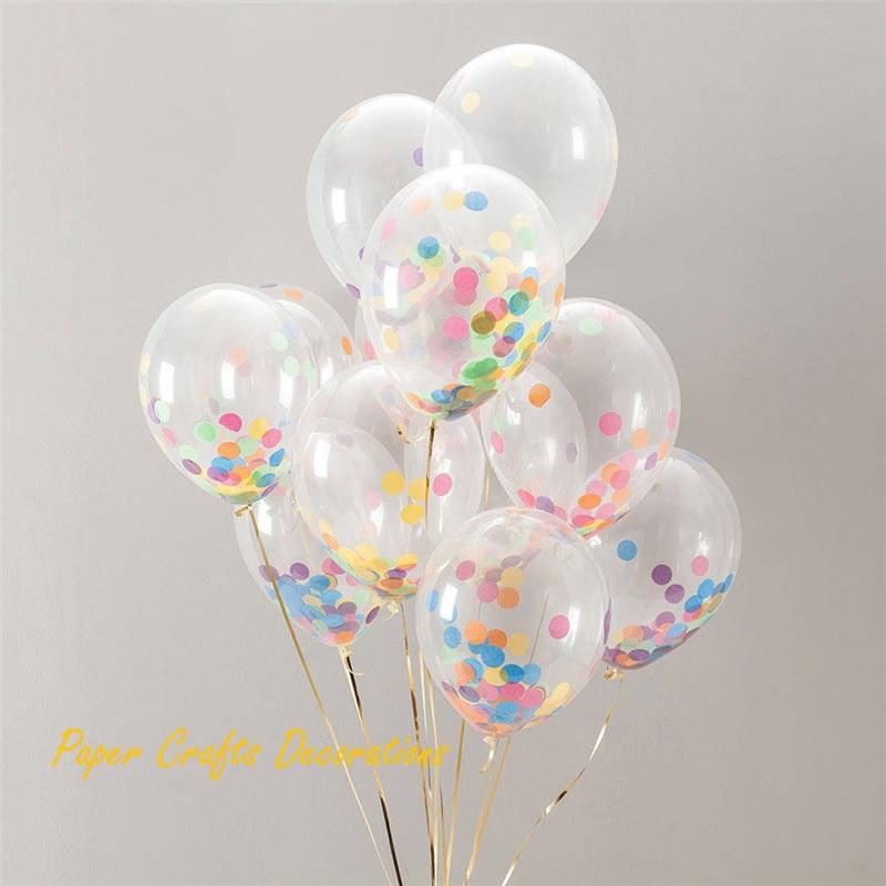 "10/"" /& 18/"" Transparent Latex Balloons Wedding Birthday Confetti Decoration confet"