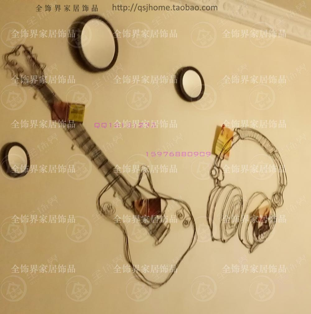 Metal wire guitar wall decor art music wall sculpture wire headset ...