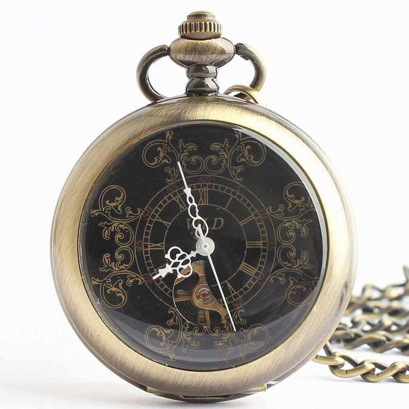 Vintage Bronze Mechanical Pocket Watches Men Antique Luxury Brand Hand Wind Necklace Pocket & Fob Watch Chain Gift Box TJX047