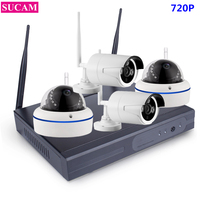 SUCAM Plug And Play 4CH NVR WIFI CCTV Security Camera System 4PCS 720P HD Wireless CCTV