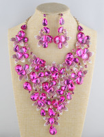 crystal Beautiful Flower wedding necklace earrings set Bridal Jewelry Sets for brides women party Super Big Jewelry