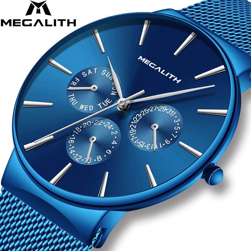 MEGALITH Mens Watches Top Brand Luxury Sport Watch Slim Mesh Steel Date Waterproof Quartz Watch For Men Clock Relogio Masculino