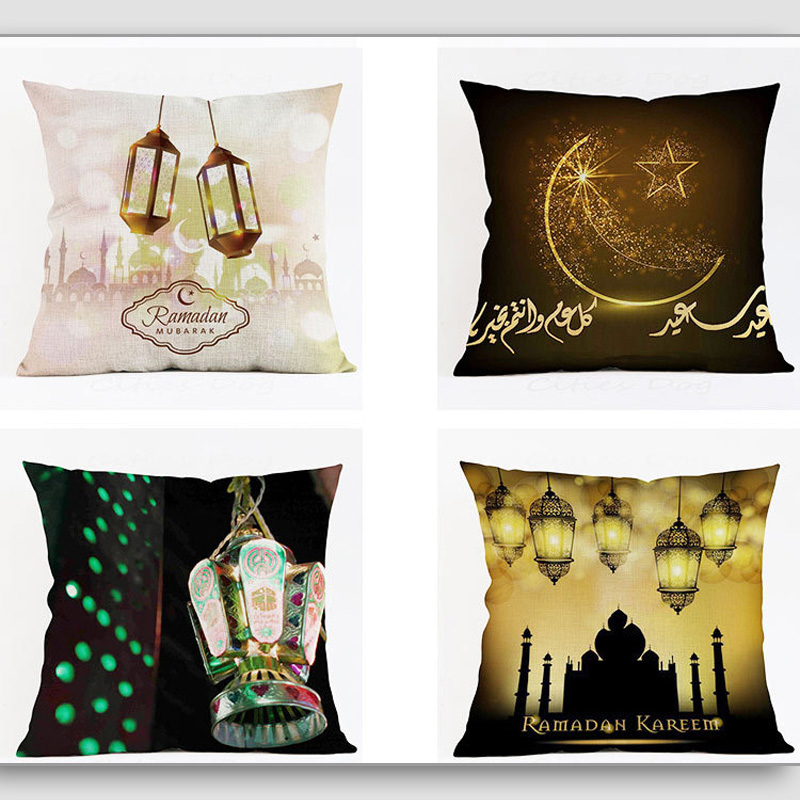 2019 45x45cm Islam Culture Element Moon Muslim Festival Ramadan Kareem Theme Pillow Case Cover Home Sofa Waist Cushion Cover EID