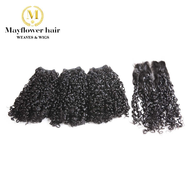 "Mayflower Funmi Hair Tiny curl 2/3/4 pcs with 4x4 ""closure Double drawn Remy hair weft Natural black color 10-20"" mixed length"