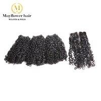 Mayflower Фунми волос крошечный завиток 2/3/4 шт. с 4x4 застежка дважды обращается плетенка в виде волос, не имеющих повреждения кутикулы, чешуйки к