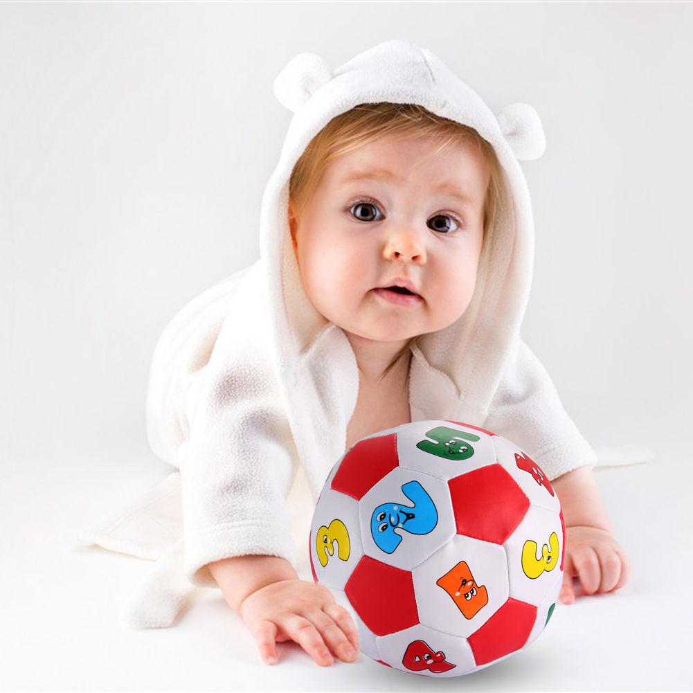 Baby Early Education Football PVC/Sponge Alphabet Number Learning Ringing Toy Ball Outdoor Fun Sports Toy