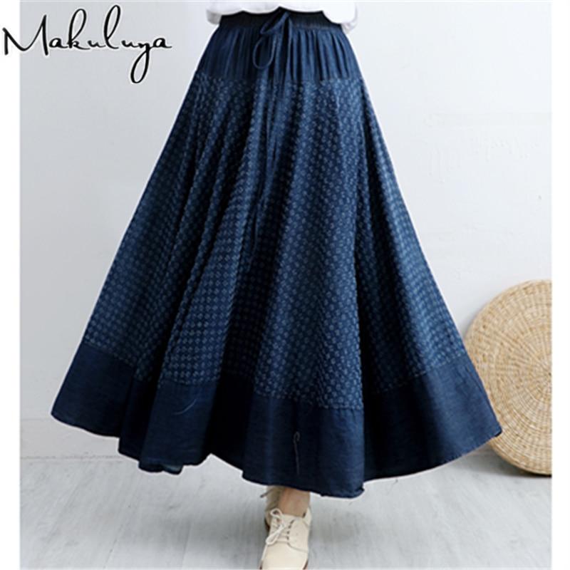 Makuluya New Classic High Quality Women's Vintage Ethnic Flower Pattern Printing Bohemian Polka Dot Denim Long Pleated Skirts L6