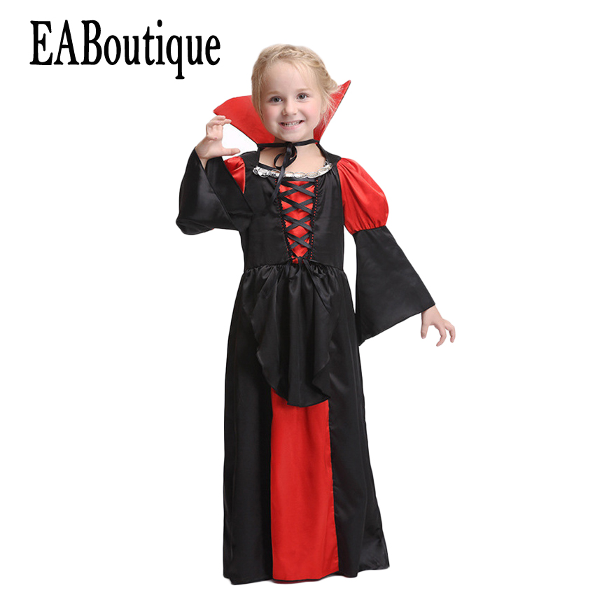 EABoutique 2017 New high quanlity Vampire Queen Goth style full halloween dress halloween costumes for kids girls