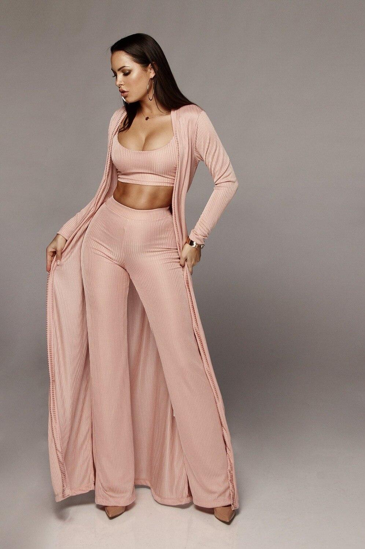 Bandage lace up long sleeve cardigan coat loose wide leg pants tube top 3 piece set for female women's suits 1