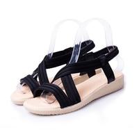 2018 New Summer Spring Fashion Women Flat Sandals PU Leather Solid Leisure Footwear Female Comfortable Women
