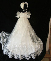 Vintage Customized White Ivory Baby Girls Christening Gown Lace Applique Baptism Gown Infant Baby Dress with Bonnet