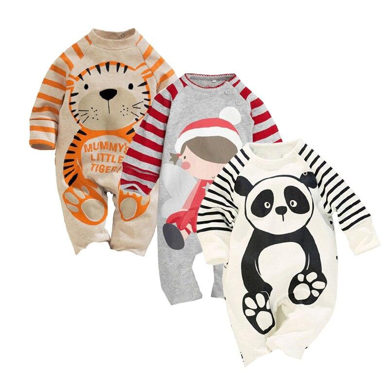 Animal Striped Baby Romper Cotton Boys Romper Baby Cute Tiger Panda Pijama Printed Roupas De Infantil Autumn Cute Girl Jumpsuit