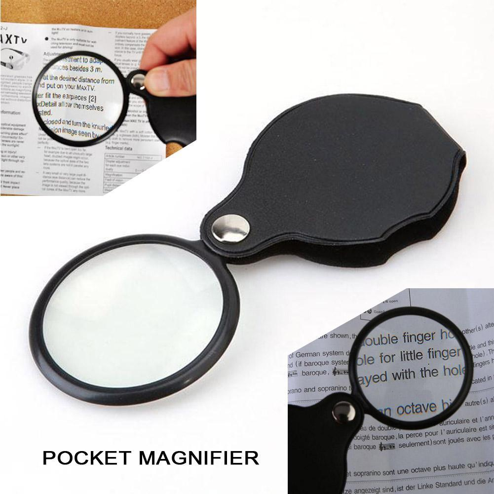 10x Folding Mini Magnifiers Portable Jewelry Loupe Foldable PU Material Reading Magnifying Glass Lens Pocket Magnifier