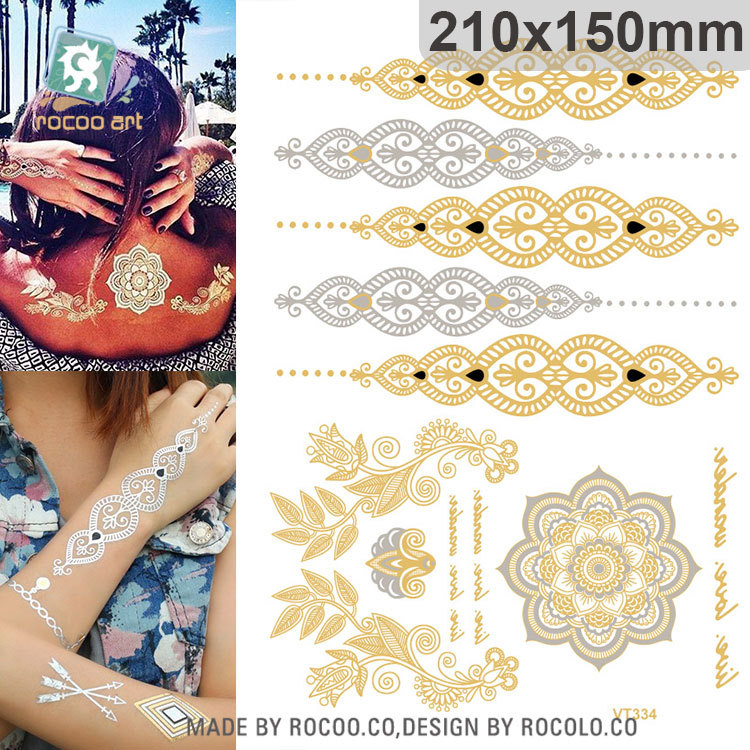 17 hot sell body art painting tattoo stickers Metal gold silver temporary flash tattoo Disposable indians tattoos tatoo VT334 11