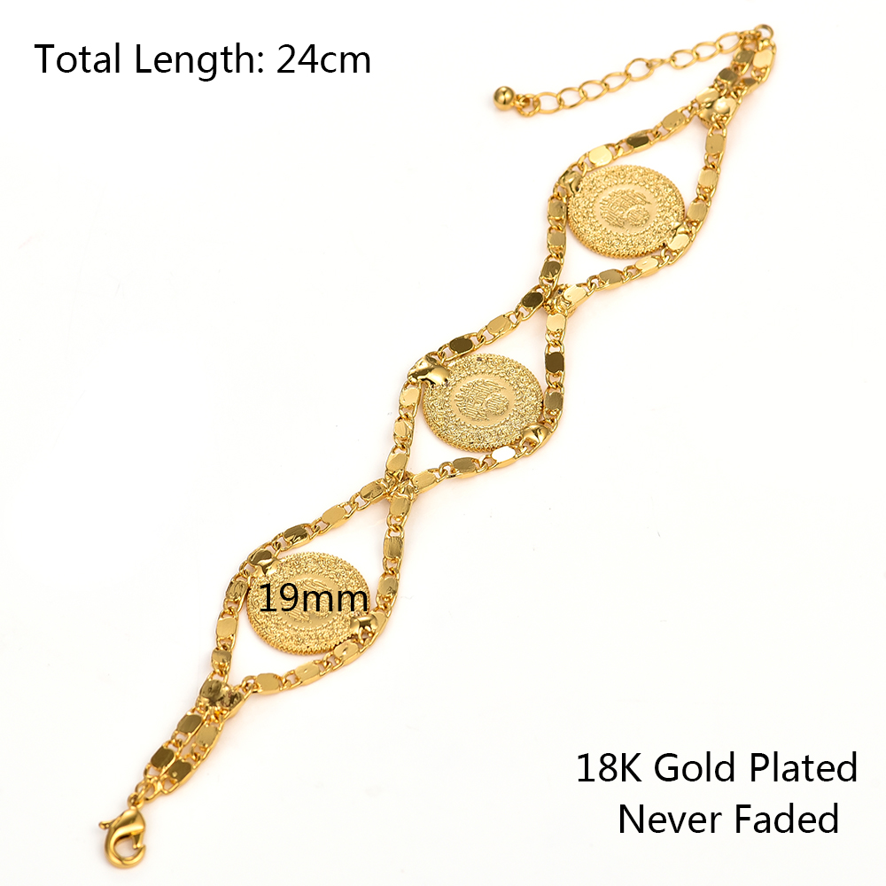 Arab Jewelry African Length 24CM Turkey Coin Bracelet for Women Gold Color Turks Simgesi Osmanli Turasi Muslim Islam Bangle