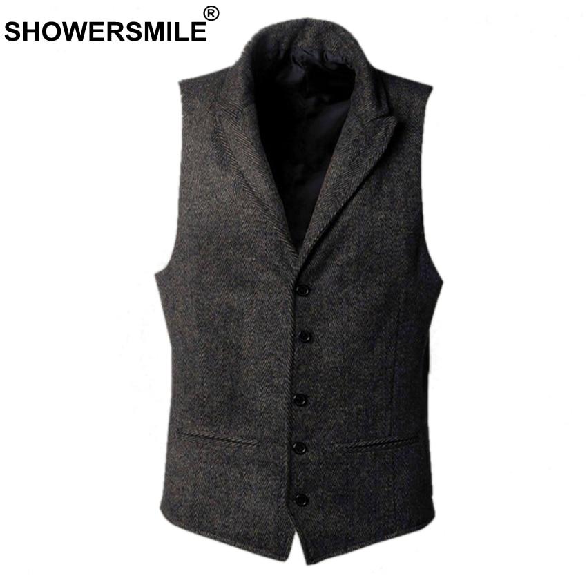 SHOWERSMILE Tweed Jacket Mens Wool Vests Autumn Winter Vintage Waistcoat Men Clothing Vest British Style Plus Size 4xl Suit Vest