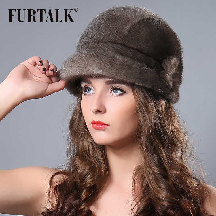 FURTALK Russo Inverno Real Mink Balde Chapéu para As Mulheres Quente Natural Mink Beanie Chapéus 2019