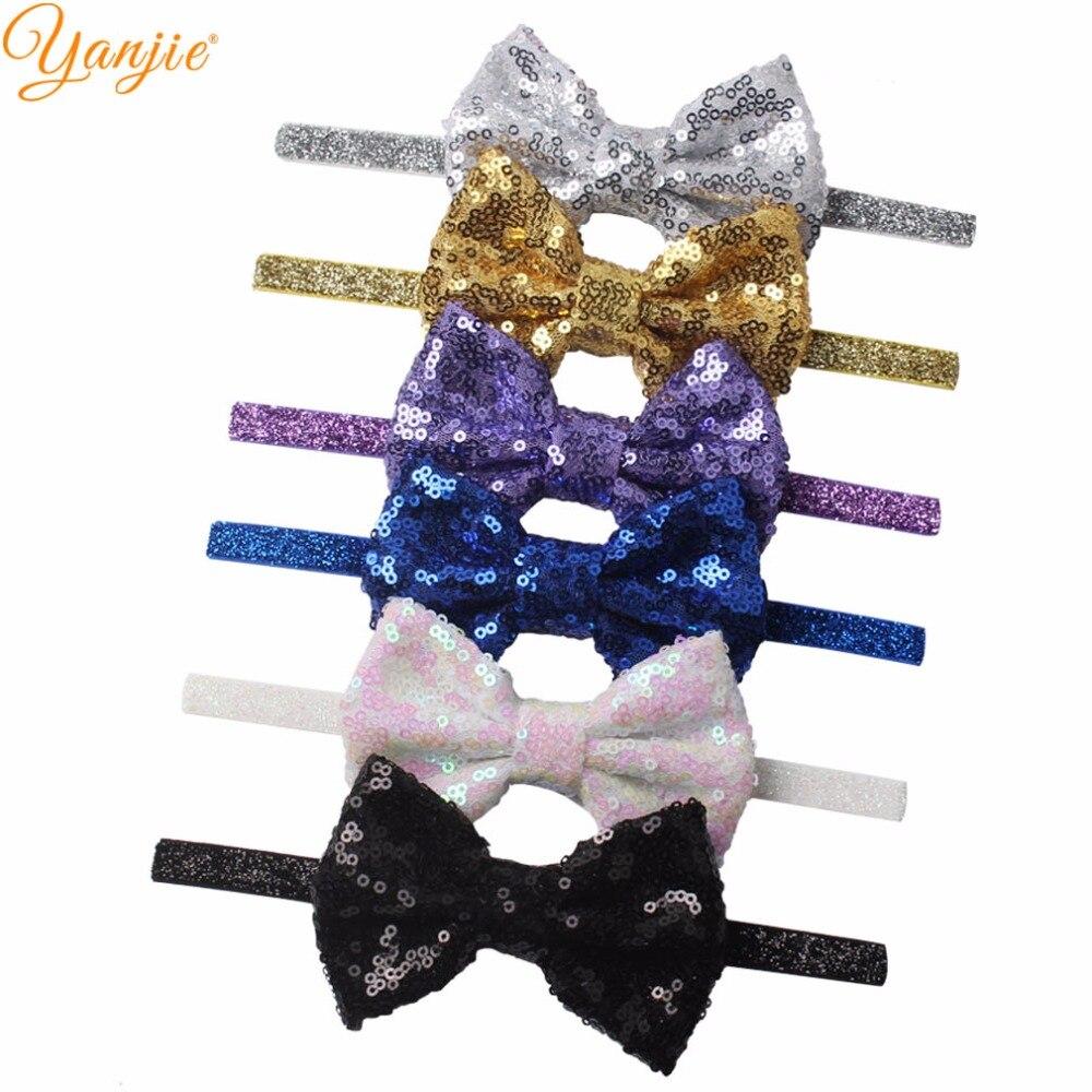60pcs lot Wholesale Cute 4 Gold Sequins Hair Bow Glitter Elastic Girl s Headband DIY Hair