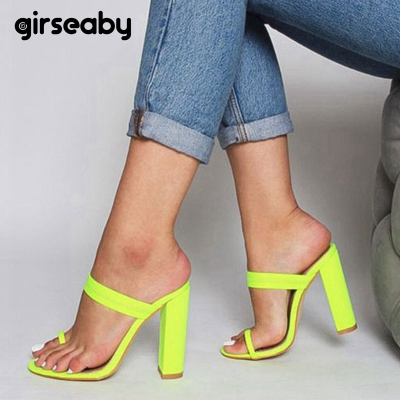 Girseaby Shoes women Thick High heel Slippers Lycra Candy color Size 36 41 Casual sapato feminino Flip Flop Buckle solid E106