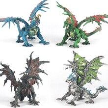 (4 pcs/lot) Legendary Dragon Assembly Action Figure Western Epic Devil Dark Dragons PVC Toy Model Set Boys Gift Free shipping