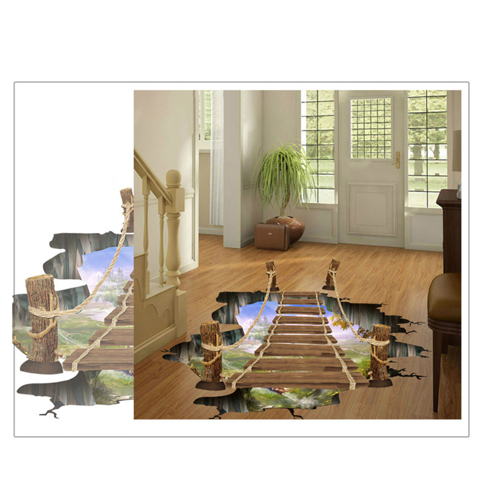Hot 3d bridge floor wall sticker removable mural decals for 3d wall for home