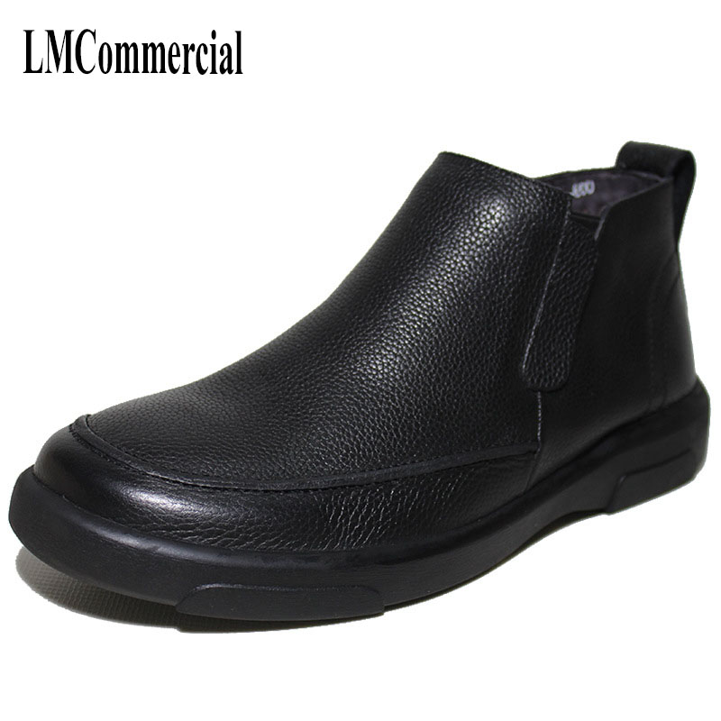 The winter men in elderly leisure shoes and leather boots pedal warm cotton cashmere autumn British retro cowhide boots men autumn and winter with warm cashmere leather boots british retro men shoes martin head layer cowhide shoes boots breathable