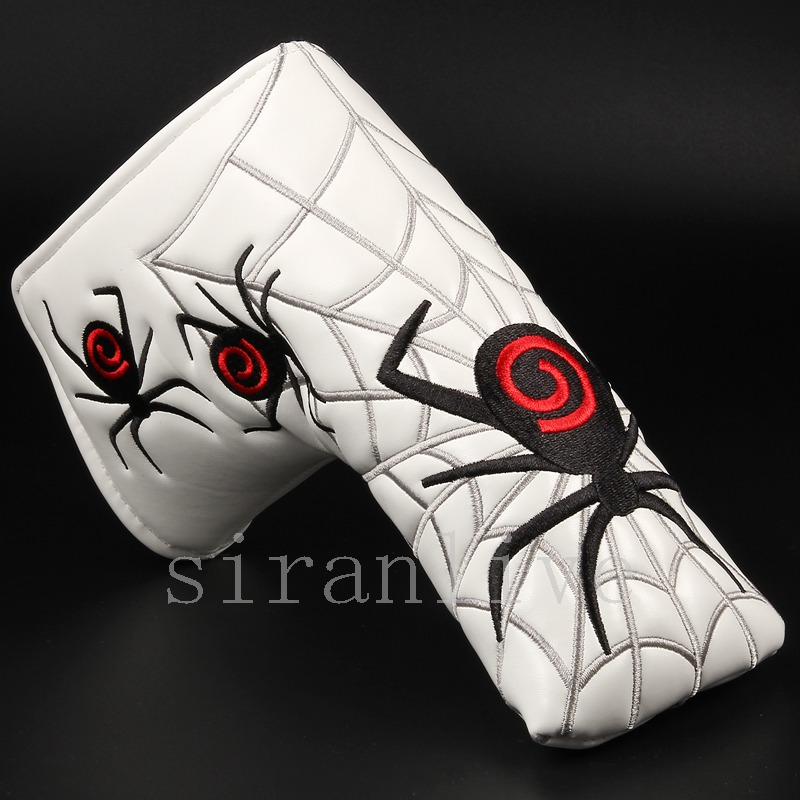 New Spider With Silver Web Golf Putter Cover Headcover For Blade Golf Putter Red White Black Head Cover Free Shipping
