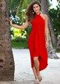 Sexy Del Color Del Caramelo Asimétrica Vestidos 2016 Nuevo Halter del algodón Elegante Vestido de Partido de las mujeres de Señora Summer Wear ropa de Playa vestido Largo XXL