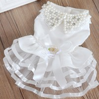 Fashionable Pearl Pet Wedding Formal Dress Clothes Pet Skirt Dog Clothes White XS XL Free Shipping