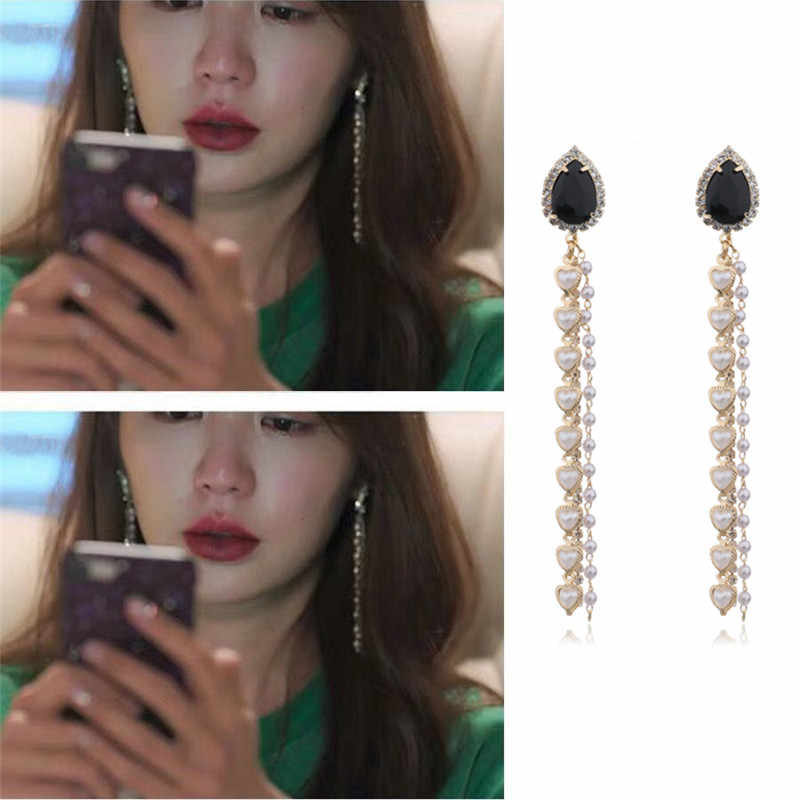 MENGJIQIAO 2019 Korean Statement Big Water Drop Crystal Long Earrings For Women Heart Simulated Pearl Tassel Pendientes Brincos
