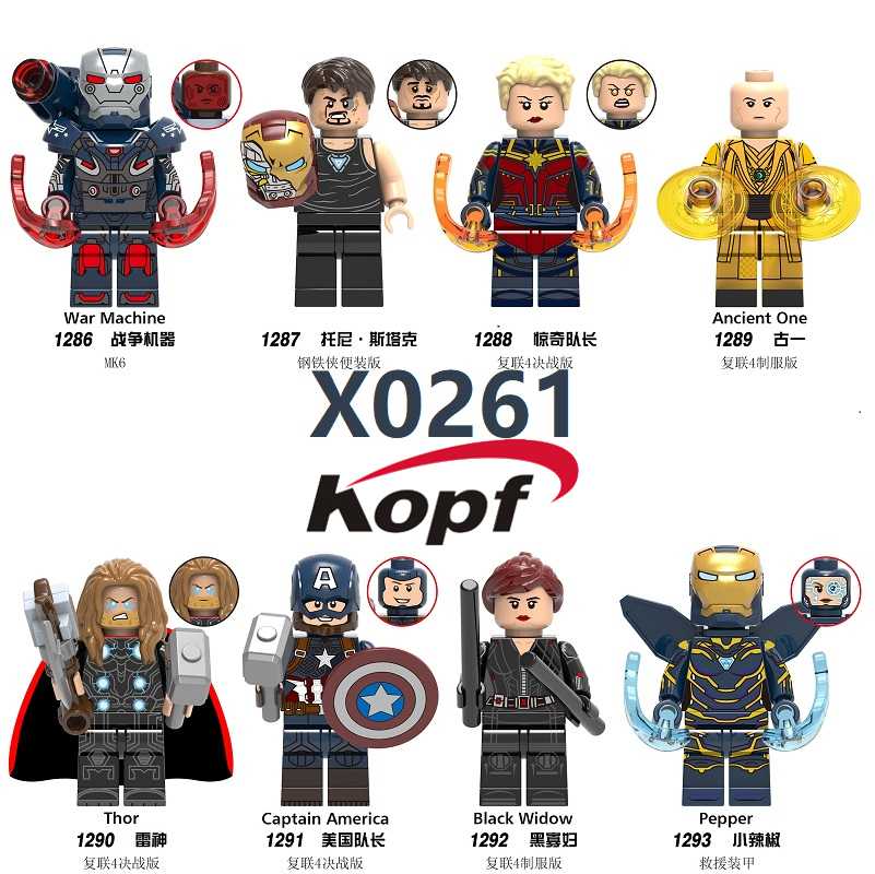 Building Block Plastic Super Heroes Movie4 Thor Ancient One Pepper Captain America War Machine Figures For Children Toy X0261