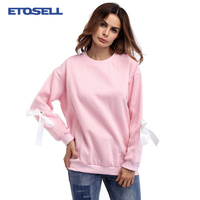 2017 New Autumn Harajuku Hoodies Solid Lace-up Long Sleeve Loose Women Low Shoulder Sweatshirt Fashion Personality Casual Tops