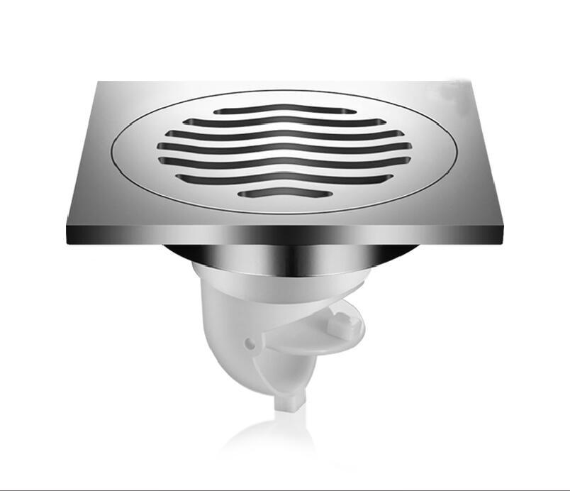 Déodorant drain de sol cuivre chromé surface brillante ondulée humide et sec universel cuisine toilette égout drain de sol Lu5192