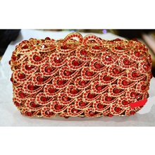 8296RD Red Crystal on golden metal case Lady Fashion Wedding Bridal Party Night Evening purse clutch bag case box handbag