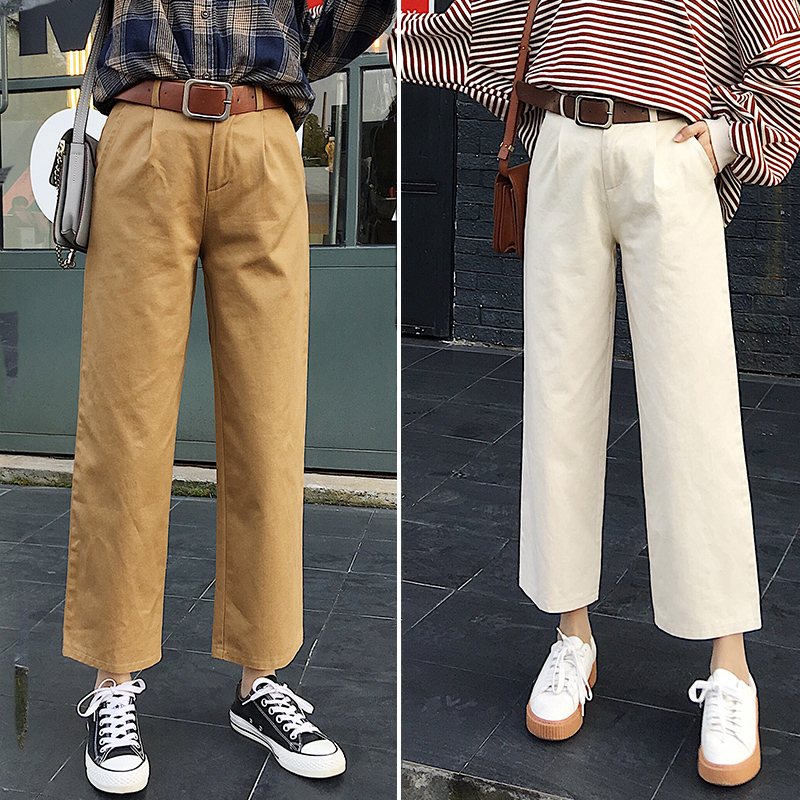 Wide     Leg     Pants   Women 2018 Spring New Hot Fashion Female Casual Basic Simple Loose High-waisted Bottoms   Pants   Trousers FD15#8604