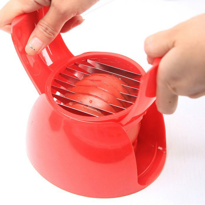Red Tomato Slicer ABS Plastic+ Stainless Steel Cutter Slicer Kitchen peeler divider Useful Gadgets Tomato Knife