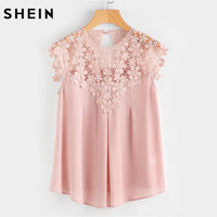 SHEIN Ladies Keyhole Back Daisy Lace Shoulder Shell Top Women Blouses Summer 2017 Pink Round Neck