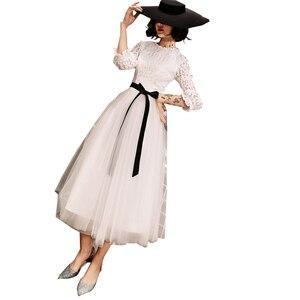 Image 1 - Elegant Simple Lace Long sleeved White Evening Dress Female 2019 New  Costume  Formal Dresses Evening Gown Vestido De vestido
