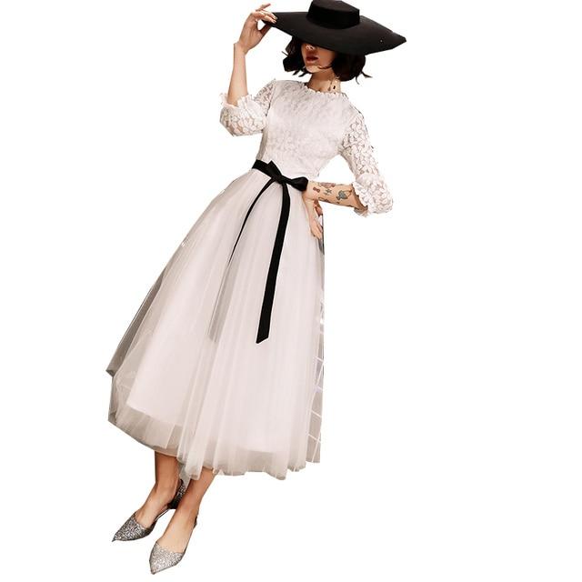 Elegant Simple Lace Long sleeved White Evening Dress Female 2019 New  Costume  Formal Dresses Evening Gown Vestido De vestido