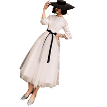 Elegante simples rendas de manga comprida vestido de noite branco feminino 2019 novo traje vestidos formais vestido de noite