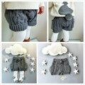 Девушки шорты осень и зима шерсть трикотажные брюки для девочек-младенцев карман мяч дизайн серый шорты бермуды roupas infantis menina